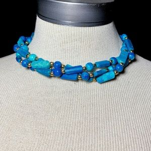 Vintage Turquoise Howlite Chunky Necklace